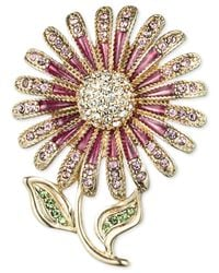 Jones New York | Metallic Gold-tone Pink Crystal Flower Pin | Lyst