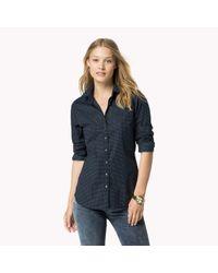 Tommy Hilfiger | Blue Cotton Blend Patterned Shirt | Lyst