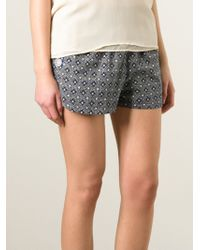 See By Chloé - Blue Floral Print Shorts - Lyst