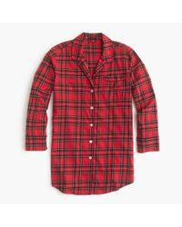 J.Crew | Red Classic Tartan Flannel Nightshirt | Lyst