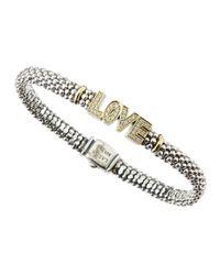 Lagos | Metallic Sterling Silver 18k Gold Love Diamond Rope Bracelet | Lyst
