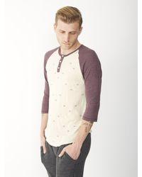 Alternative Apparel - Purple Basic Printed Raglan Henley Shirt for Men - Lyst