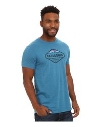Patagonia - Blue Fitz Roy Crest Cotton/poly T-shirt for Men - Lyst