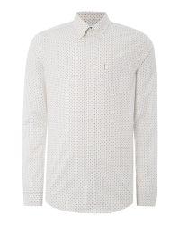 Ben Sherman - White Micro Geo Long Sleeve Shirt for Men - Lyst