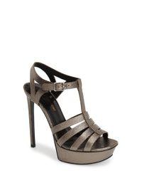 Saint Laurent | Metallic 'Bianca' Platform Sandal | Lyst