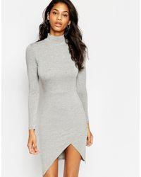 ASOS | Gray Polo Asymmetric Bodycon Mini Dress | Lyst