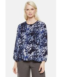 Vince Camuto | Blue Floral-Print Chambray Blouse | Lyst