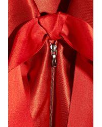 Lanvin - Red Ruffled Satin-Twill Dress - Lyst