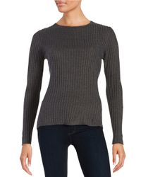 Ivanka Trump | Gray Ribbed Crew Sweater | Lyst