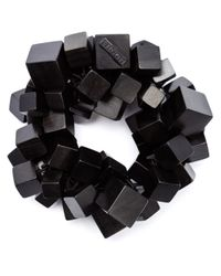 Monies | Black Cube Beaded Bracelet | Lyst