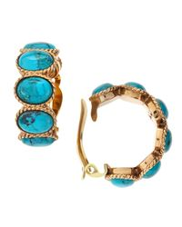 Stephen Dweck | Metallic Turquoise Cabochon Hoop Earrings | Lyst