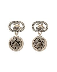Gucci - Metallic Crystal-embellished Logo Earrings - Lyst