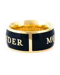 Alexander McQueen   Blue Enamel Logo Ring   Lyst