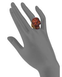 Alexander McQueen - Red Small Skull Wood Ring - Lyst