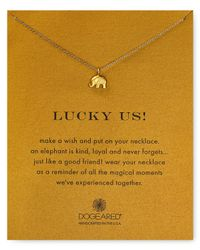 "Dogeared - Metallic Lucky Us Elephant Necklace, 16"" - Lyst"