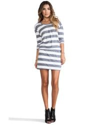 C&C California - Long Sleeve Striped Blouson Dress in Gray - Lyst