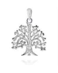 Aeravida | Metallic Textured Tree Of Life Branches Root .925 Silver Pendant | Lyst