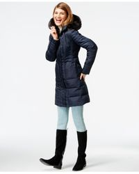 Vince Camuto | Blue Faux-fur-trim Quilted Walker Coat | Lyst