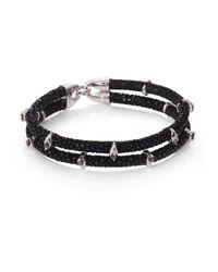 Stinghd   Black Diamond, Silver & Stingray Wrap Bracelet for Men   Lyst