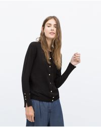 Zara | Black Round Neck Cardigan | Lyst