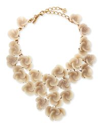 Oscar de la Renta | Brown Resin Flower Bib Necklace | Lyst