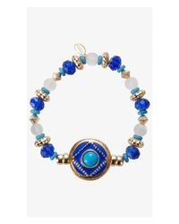 Express - Blue Ornate Bead And Medallion Stretch Bracelet - Lyst