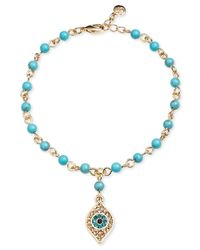RACHEL Rachel Roy | Metallic Gold-Tone Evil Eye Charm Turquoise Bead Rosary Bracelet | Lyst