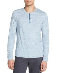 Vince | Blue 'jaspe' Jersey Henley for Men | Lyst