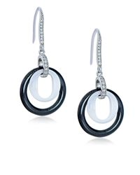 Lord & Taylor | Black Ceramic Gem Faux Diamond And Ceramic Double Ring Drop Earrings | Lyst