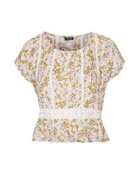 TOPSHOP - Yellow Flower Lace Pintuck Blouse - Lyst