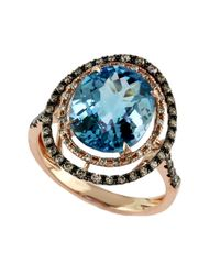 Effy | Bleu Rose 14kt. Rose Gold Brown Diamond And Blue Topaz Ring | Lyst