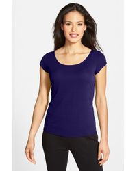 Eileen Fisher | Blue Cap Sleeve Silk Tee | Lyst