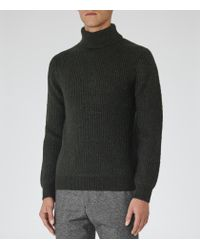 Reiss - Green Alfred Ribbed Rollneck Jumper for Men - Lyst