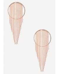 Bebe | Metallic Bead Fringe Hoop Earrings | Lyst