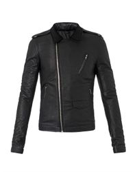 Rick Owens - Black Cashmere-Lined Leather Jacket for Men - Lyst