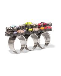 Shourouk - Metallic Tyson Embellished Gunmetal-tone Three-finger Ring - Lyst