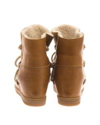 Isabel Marant - Brown Nowles Leather Wedge Snow Boots - Lyst