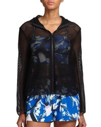 Clover Canyon | Black Hooded Mesh Zip-up Jacket | Lyst