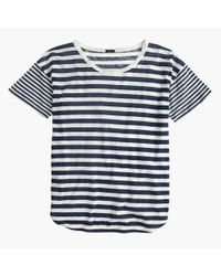 J.Crew | Blue Mixed-stripe Vintage Cotton T-shirt With Rounded Hem | Lyst