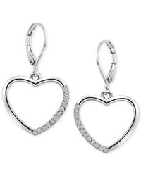 T Tahari | Metallic Silver-tone Crystal Heart Drop Earrings | Lyst