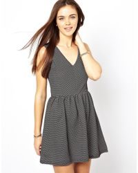 Glamorous | Gray Textured Skater Dress | Lyst