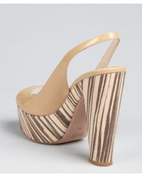 Prada - Natural Patent Leather and Wood Slingback Sandals - Lyst
