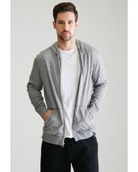Forever 21 | Gray Marled Zip-up Hoodie for Men | Lyst