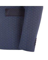 Paul Smith   Blue Men's Tailored-fit Navy Jacquard Cotton Blazer for Men   Lyst
