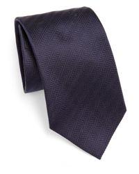 Armani - Brown Chevron Silk Tie for Men - Lyst