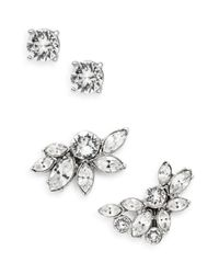 Oscar de la Renta | Metallic Navette Swarovski Crystal Cuff Earrings/Silvertone | Lyst