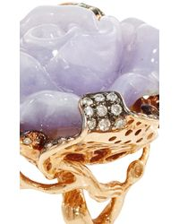 Wendy Yue - Multicolor Jade And Pink Sapphire Flower Ring - Lyst
