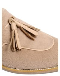 Max Mara - Natural Ponyskin & Leather Loafers With Tassels - Lyst