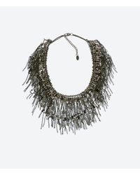 Zara | Black Crystal Fringe Necklace | Lyst