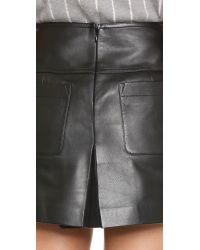 T By Alexander Wang | Black Leather A Line Skirt | Lyst